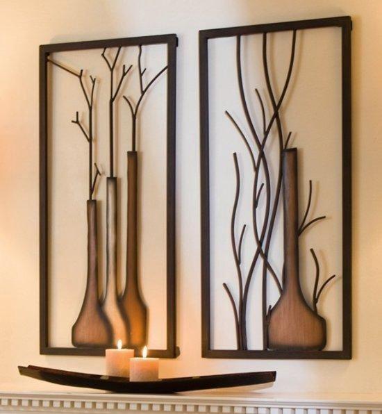 Bol Com Wanddecoratie Raam Vazen Muurdecoratie Metaal Set Van 2 Metalen Wandkleed Sfeervol