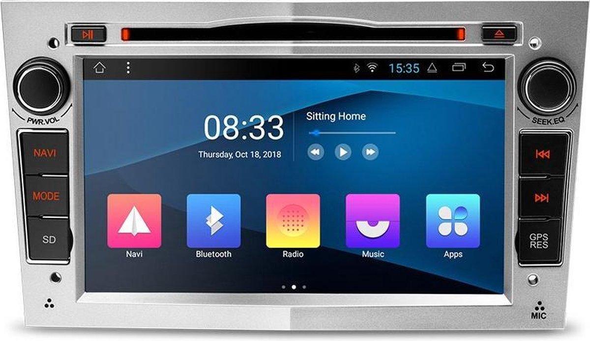 "Autoradio met navigatie - 7"" Opel Astra Corsa Zafira Vectra Vivaro, Canbus, GPS, Wifi, Mirror link, OBD2, Bluetooth - Zilver"