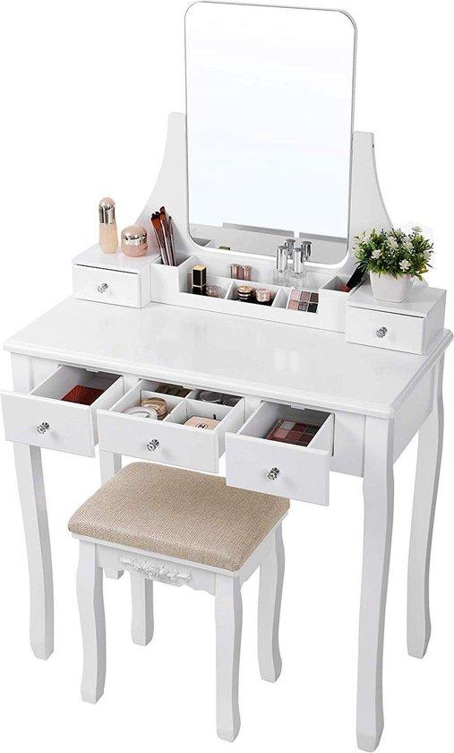 Hedendaags bol.com   Make-up tafel met Spiegel en Bijhorende Kruk - Witte WM-19