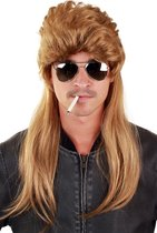 Mullet pruik lang donkerblond matje - blond bruin 80's rocker new kids redneck USA amerikaans muzikant eighties