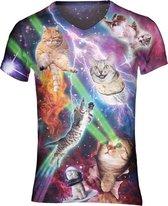 Gigantisch fout katten festival shirt Maat: L  V-hals