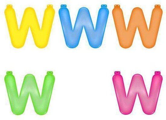 Opblaas letter W  Blauw