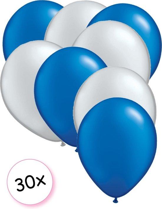 Ballonnen Blauw & Zilver 30 stuks 27 cm