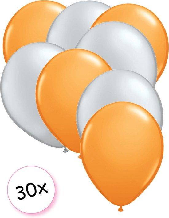Ballonnen Oranje & Zilver 30 stuks 27 cm