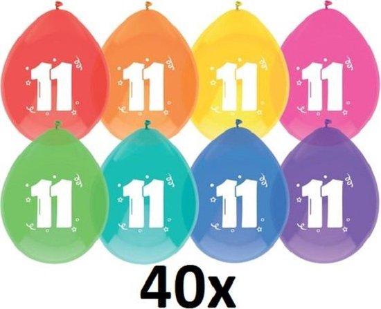 40 x Ballonnen - 11 jaar - assorti kleuren