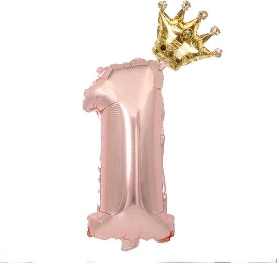 Folie ballon cijfer 1 rosé goud met gouden kroon