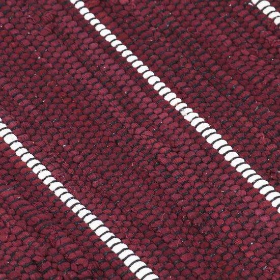 vidaXL Vloerkleed chindi handgeweven 200x290 cm katoen bordeauxrood