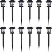 vidaXL Solar Prikspot - LED - Zonne energie - 12 stuks - RVS - Zwart