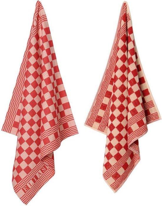 Elias handdoeken en theedoeken - 4 x keukenset Pompdoek rood