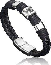 Stoere Heren Armband | Gevlochten Leer met Stalen Accenten | Armband Heren | Armband Mannen | Mannen Cadeautjes | Cadeau voor Mannen | Zwart