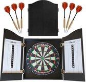 ABC Darts Dartkabinet Zwart - met Dartbord en 2 sets Dartpijlen