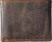 Lundholm Leren portemonnee heren leer portefeuille heren - cadeau voor man heren portemonnee Heren RFID Billfold Bruin vaderdag kados