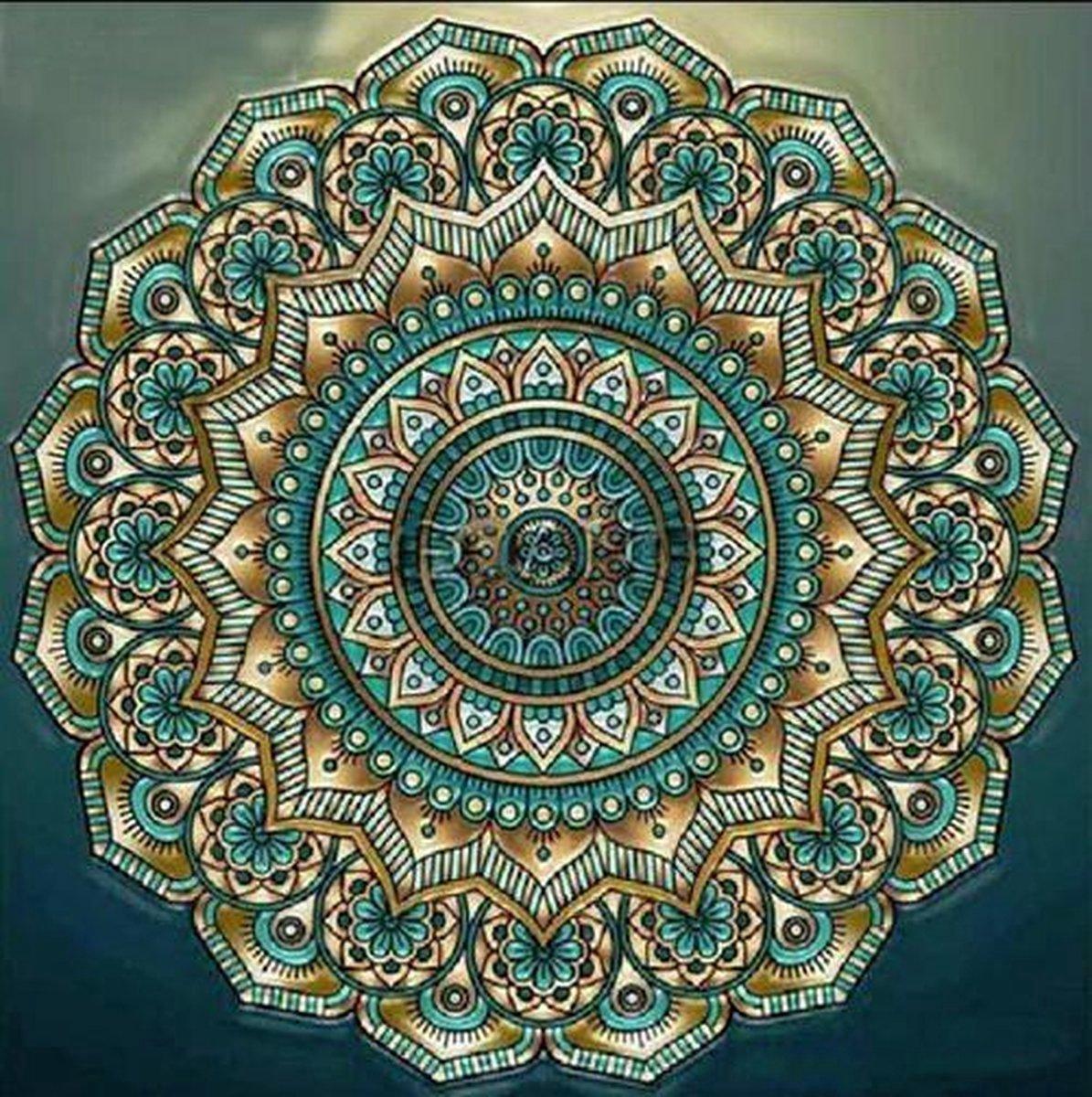 Premium Paintings - Mandala Groen - Diamond Painting Volwassenen - Pakket Volledig / Pakket Full - 40x40 - Moederdag cadeautje
