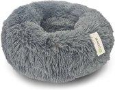 Doxie® Pluche Fluffy Donut Hondenmand – Kattenmand – Hondenkussen – Kattenkussen – Wasbaar – Antislip – ⌀ 70 cm – Donkergrijs