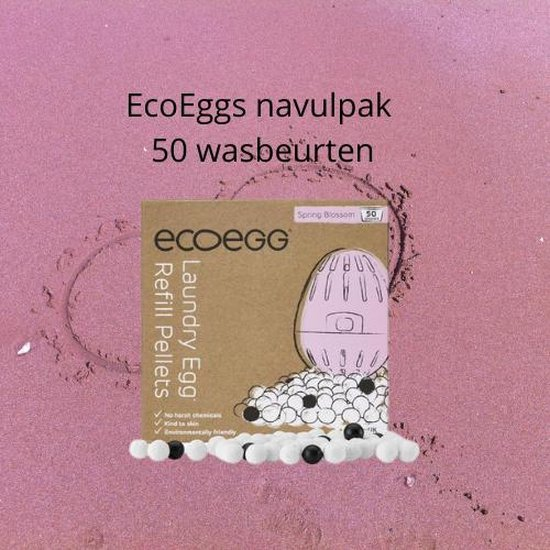 EcoEgg - Navul Eco-egg wasbol - Refill Ecoegg Spring bloesem - Vegan - Zuinig wassen - Milieuvriendelijk wassen - Propere eco wassen - 50 x goedkoop wassen