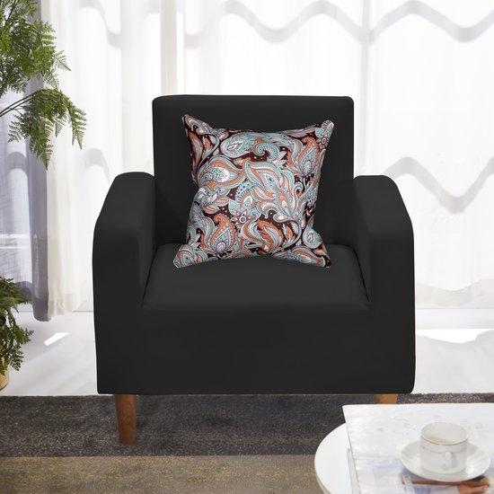 Love Seat Hoes met Kleurrijke Kussenhoes x 1 – Stretch – Zwart - Stoelhoes – 90-140 cm - FDBW – Hoes voor stoel