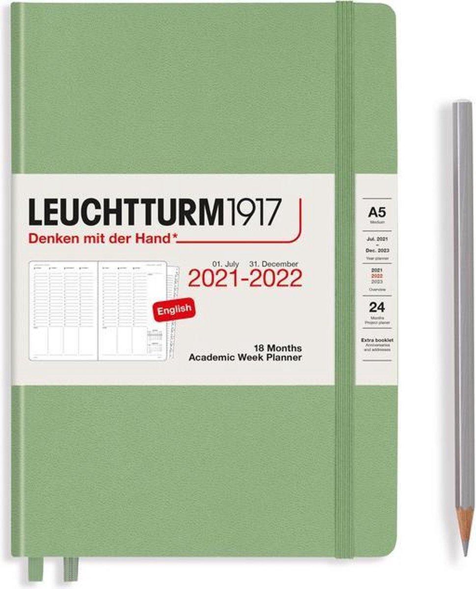 Leuchtturm - Agenda en Notities - 2021-2022 - Academische weekplanner - 18 maanden - A5 - 14,5 x 21 cm - Hardcover - Groen