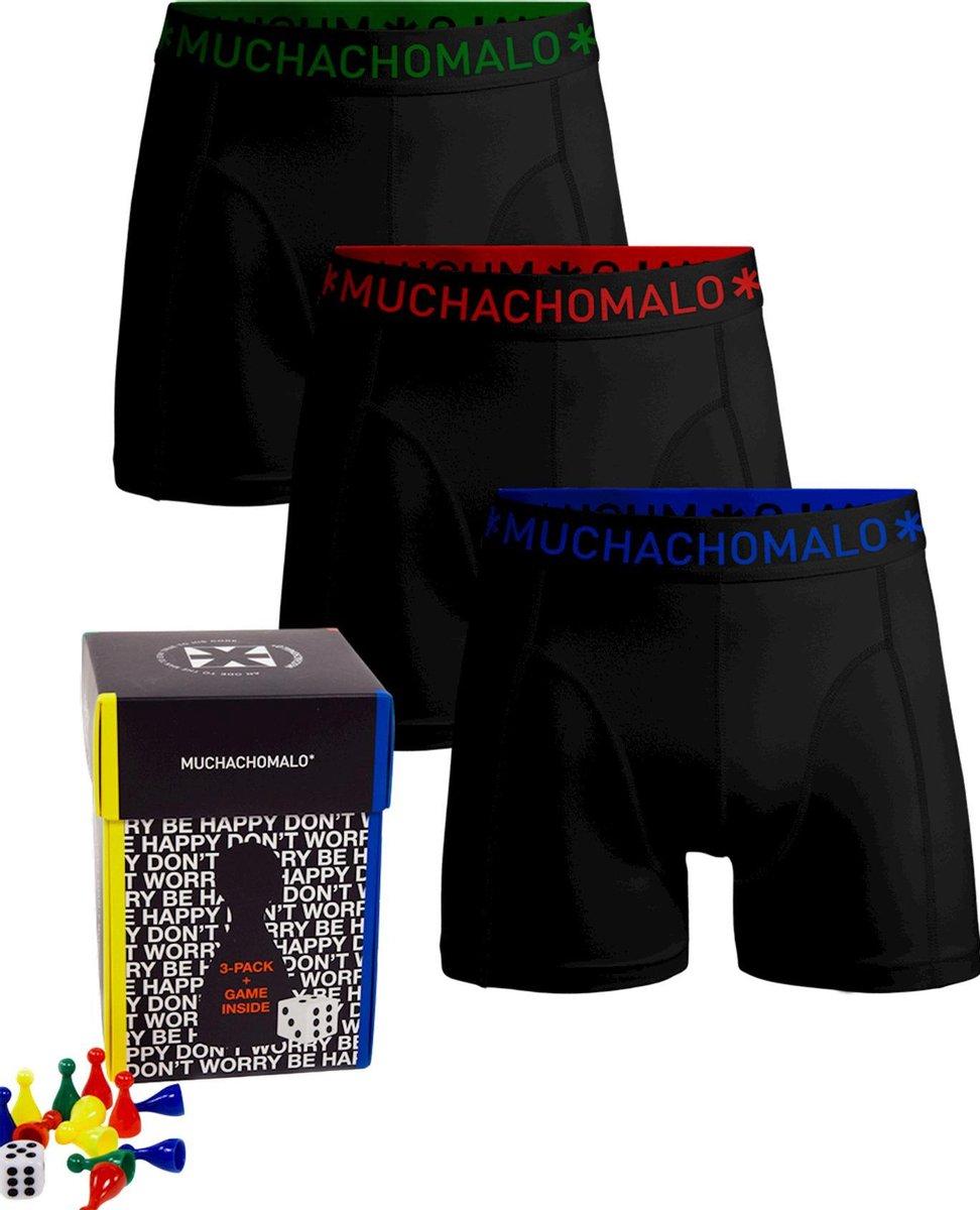 Muchachomalo 3-pack short solid - Boxershort Heren - Inclusief game - Zwart Maat XXXL