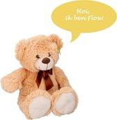 Sunkid Knuffel - Knuffelbeer - Teddybeer 54cm met strik - Flox - Beige