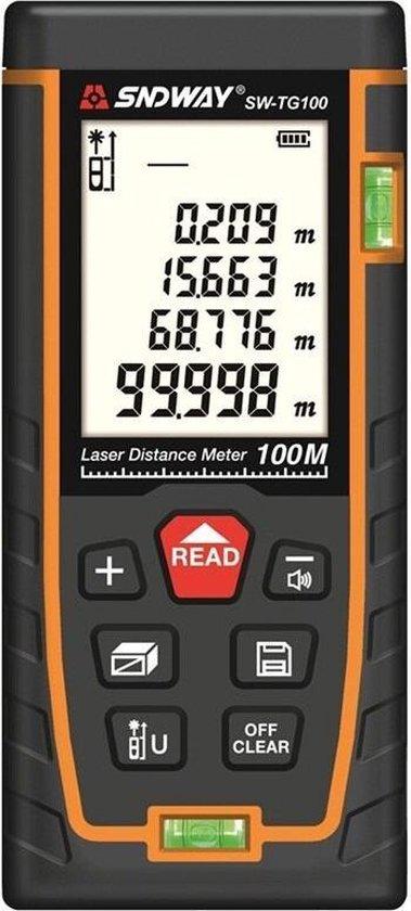 Sndway Professionele Laser Afstandsmeter - 50 meter bereik - Incl. batterijen