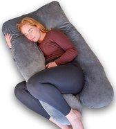 Ella zwangerschapskussen XXL U-vorm - Voedingskussen - Lichaamskussen - Afneembare Minky Fleece Hoes - 140x80cm - Lichtgrijs