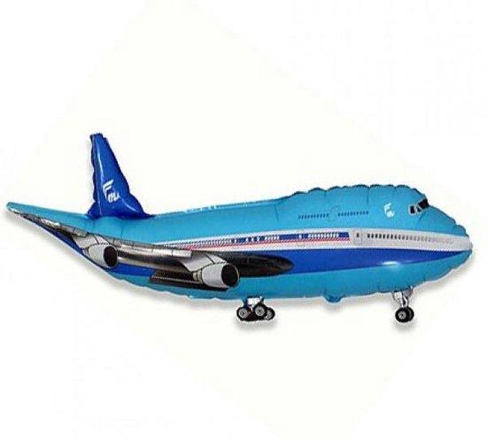 Folie ballon Vliegtuig,  61  cm groot, Verjaardag, Blauw