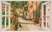 PB-Collection - Tuindoek doorkijk Raam Steeg Katten - 90x140cm - Tuinposter - Tuin decoratie - Tuinposters buiten – Tuinschilderij – Poster Buiten – Buitencanvas – Tuinbanner