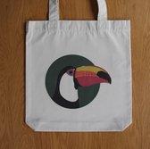 Totebag Toekan - Fair Wear - Gerecycleerd katoen - 37 x 39 cm. Extra stevig en brede bodem. Mooie canvas tas.