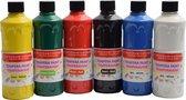 Tempera verf 250 ML - 6 stuks - Blauw - Geel - Groen - Rood - Wit - Zwart -  Set van 6x Acrylverf / temperaverf - 6 kleuren - Fles 250 ml - Tempera / acryl verf - Hobby - knutselmateriaal - Schilderij maken - Verf op waterbasis - Hobby-