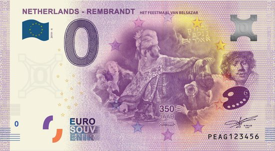 Afbeelding van het spel 0 Euro Biljet 2019 - Rembrandt - Het feestmaal van Belsazar
