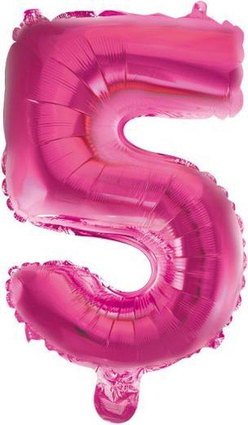 Cijferballon 5 Fuchsia-roze 32inch, 80cm kindercrea