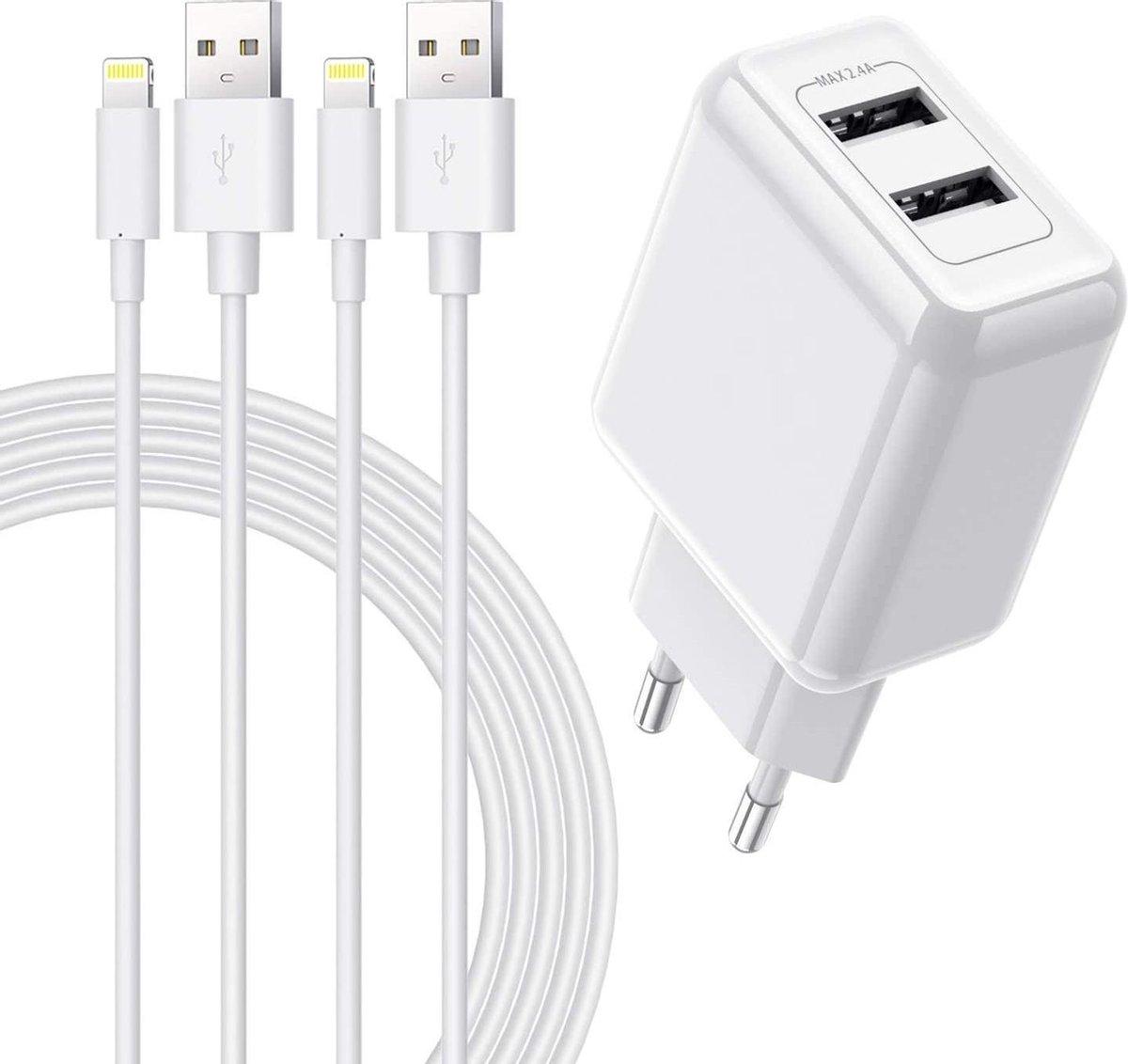 Xssive 12 W 2 poorts iPhone-oplader + 2 stuks 2 meter iPhone-oplaadkabel | [gecertificeerd] USB-voeding en Lightning-kabel voor iPhone SE 2020 XS Max XR X 8 Plus 7 Plus 6 Plus 5s SE iPad Airpods