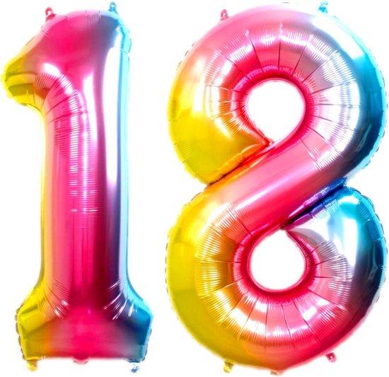 Folie Ballon Cijfer 18 Jaar Regenboog 36Cm Verjaardag Folieballon Met Rietje