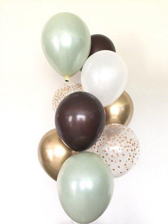 Huwelijk / Bruiloft - Geboorte - Verjaardag ballonnen | Bruin - Groen - Goud - Off-White / Wit - Transparant - Polkadot Dots | Baby Shower - Kraamfeest - Fotoshoot - Wedding - Birthday - Party - Feest - Huwelijk | Decoratie | DH collection