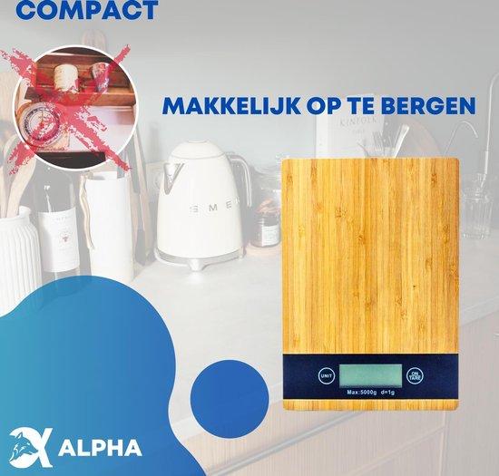 Keukenweegschaal - Keukenweegschaal Digitaal - Precisie Weegschaal - Bamboe - Keuken Weegschaal - tot 5kg - Inclusief 2 Batterijen
