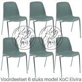 Voordeelset 6 stuks KoC Elvira lichtgrijs met verchroomd onderstel. Kantinestoel stapelstoel kuipstoel vergaderstoel tuinstoel kantine stapel stoel kantinestoelen stapelstoelen kuipstoelen arenastoel kerkstoel bistrostoel schoolstoel bezoekersstoel