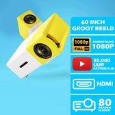 Mini Beamer Full HD 1080P - Mini Projector - HDMI-USB-AV-TF ingang - 30.000 uur speeltijd - Led