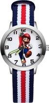 Super Mario - Kinderhorloge - Mario - Horloge - Mario Kart - Mario Speelgoed - Rood - Wit - Blauw - 5 Strepen