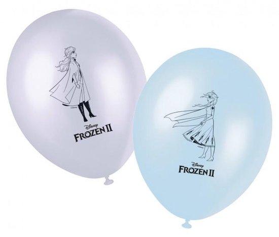 Frozen 2 Ballonnen, 8 stuks - Frozen themaballonset -anna elsa - Blauwe Disney Frozen ballonnen setje van 8x stuks - Feestartikelen en kinder verjaardag versiering