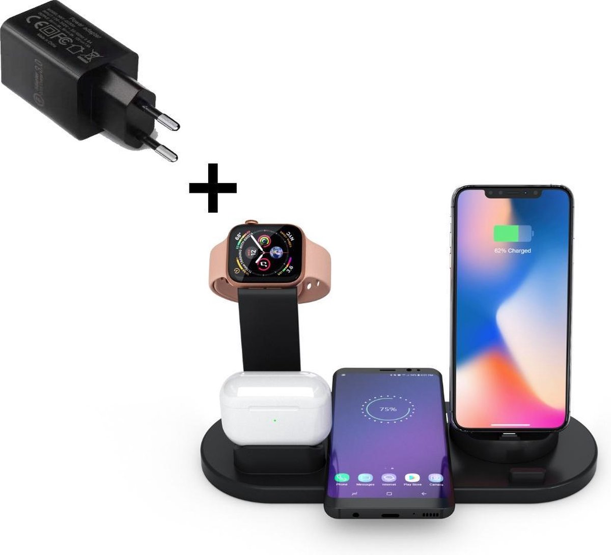 4 in 1 oplaadstation Iphone- Incl. Fast charger- Apple, Samsung en Android- Dockingstation- QI draadloze oplader- Wireless charger- Apple oplaadstation- Telefoon oplader- Apple Watch- AirPods oplader