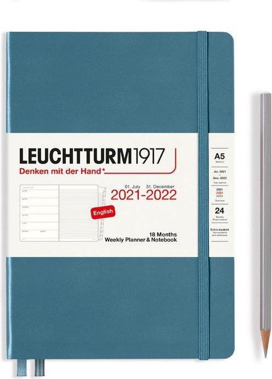 Afbeelding van Leuchtturm - Agenda en Notities - 2021-2022 - Weekplanner - 18 maanden - A5 - 14,5 x 21 cm - Hardcover - Blauw-Grijs