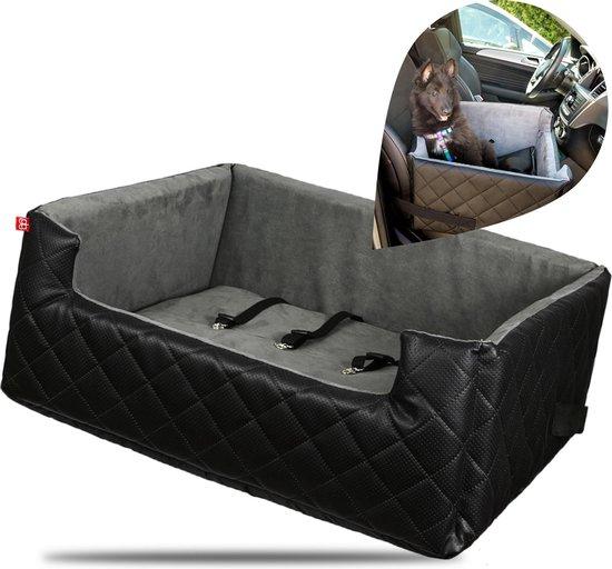 Amibelle Mia Lux - Autostoel voor honden - Extra groot - 67x50cm - Wasbaar - Handgemaakt - Hondenmand Auto - Zwart
