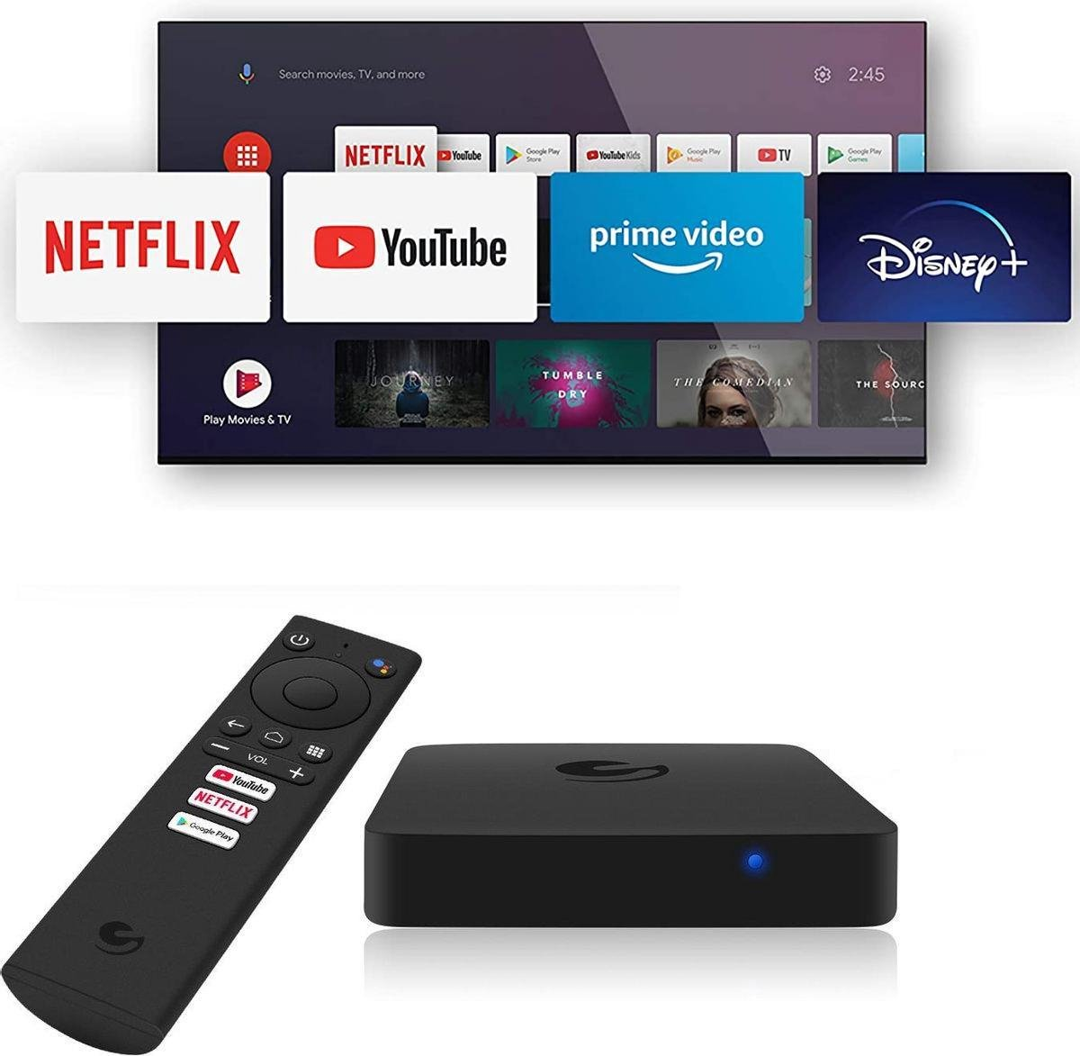 Dolphine Blue Pro X Android TV Box – 4K UHD – Android TV – Google PlayStore – Netflix, YouTube, Prime Video en Disney+