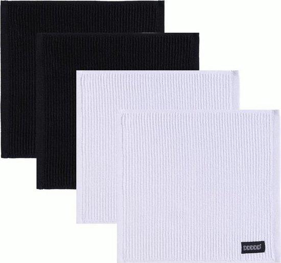 DDDDD Vaatdoek Basic Neutral Black/White (2 + 2 stuks)
