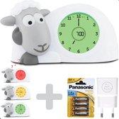 Sam Grijs + Adapter & Batterijen AA - Kinderwekker Slaaptrainer Kinderen - Slaapwekker Digitaal Schaap Kinderklok Analoog