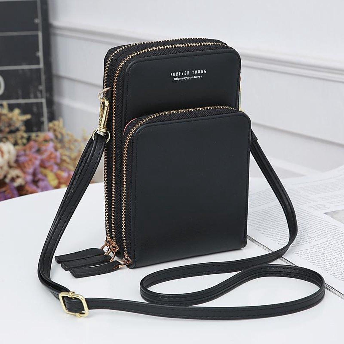 Mini schoudertas - telefoontasje dames - 3 vakken - zwart