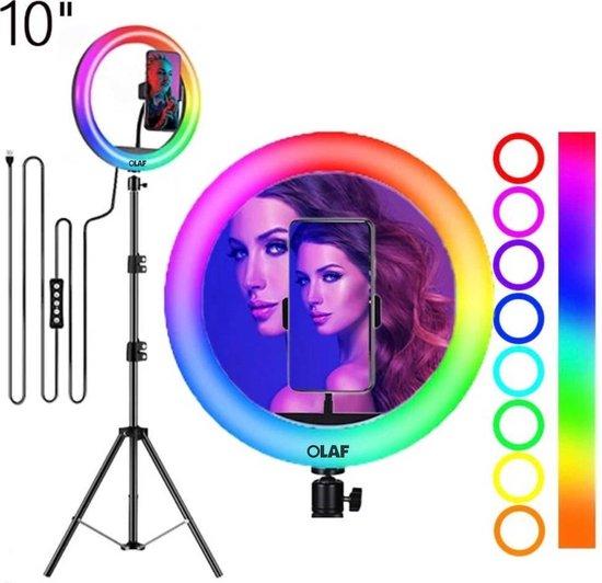 OLAF - Colourlamp - Ringlamp - Tiktok lamp - Ringlight - 10 Inch - Standaard/statief 160cm - LED verlichting - 50 extra kleurstanden - Selfielamp -