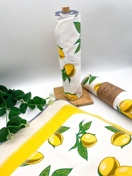 Unpaper towels - Herbruikbaar keukenpapier - Duurzaam katoenen keukendoekjes - Herbruikbare schoonmaakdoekjes - Inclusief bamboe keukenrolhouder - Katoenen keukenpapier - Zero waste keuken - Eco friendly kitchen