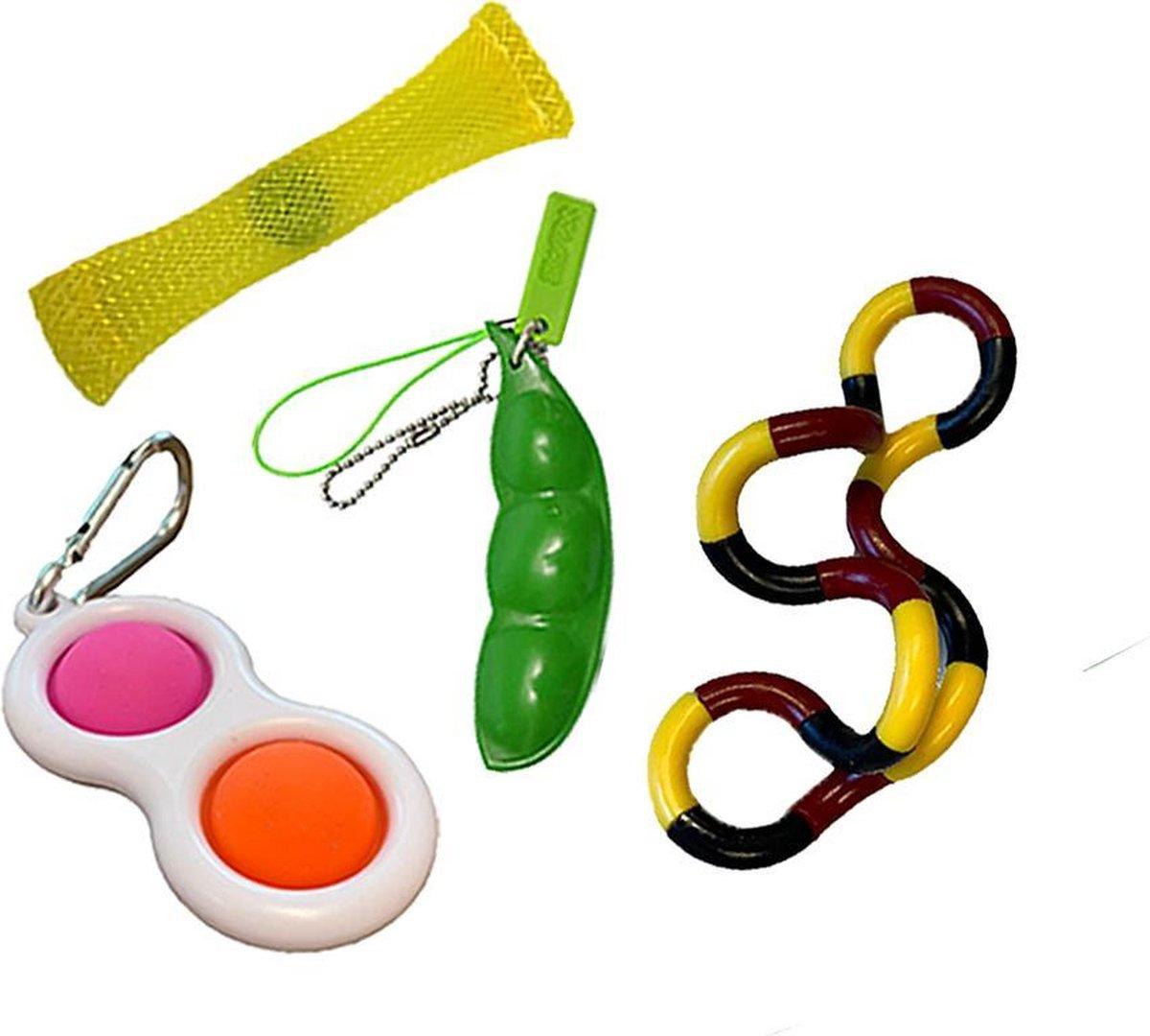 Fidget toys pakket set - Pop All Up  - 4 Delig - Simple dimple - Pop it - Pea popper - Mesh-and-marb
