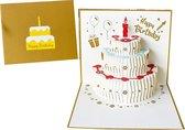 Verjaardagskaarten met envelop - Wenskaarten verjaardag - Happy Birthday - 3D pop up kaarten taart - kinderen - cadeau - verjaardagskaart